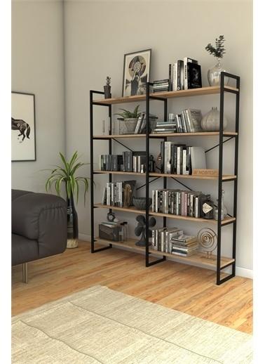 Mobitopya Nilamu Çam 150 cm Kitaplık, Metal Aksamlı, Organizer, Ofis, Ev, 5 Raflı Kitaplık Kahve